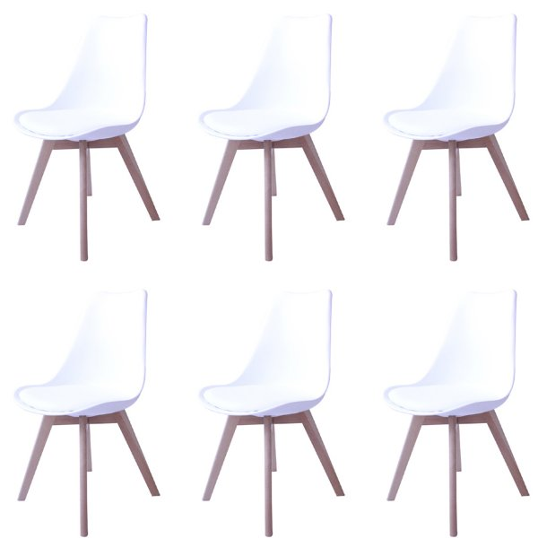 Kit 6x Cadeira Design Eames Eiffel DAR Ray Pes Madeira Salas Siena Branco Assento Couro Fratini