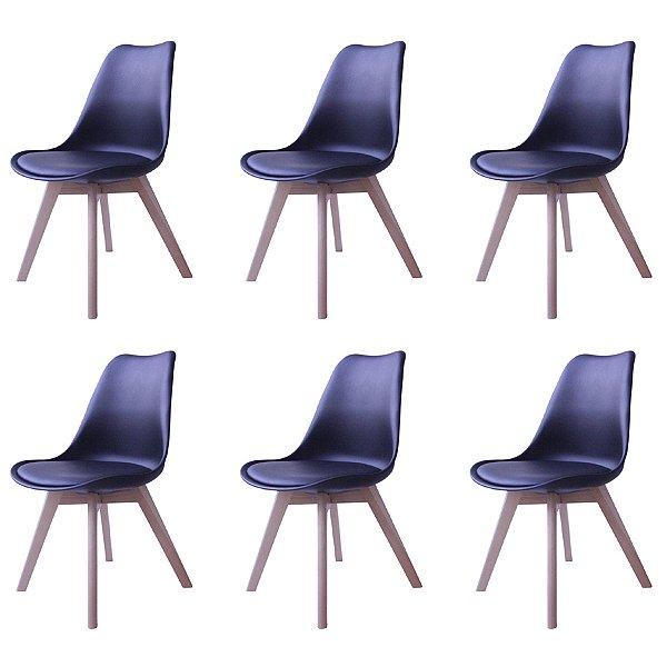 Kit 6x Cadeira Design Eames Eiffel DAR Ray Pes Madeira Salas Siena Preto Assento Couro Fratini
