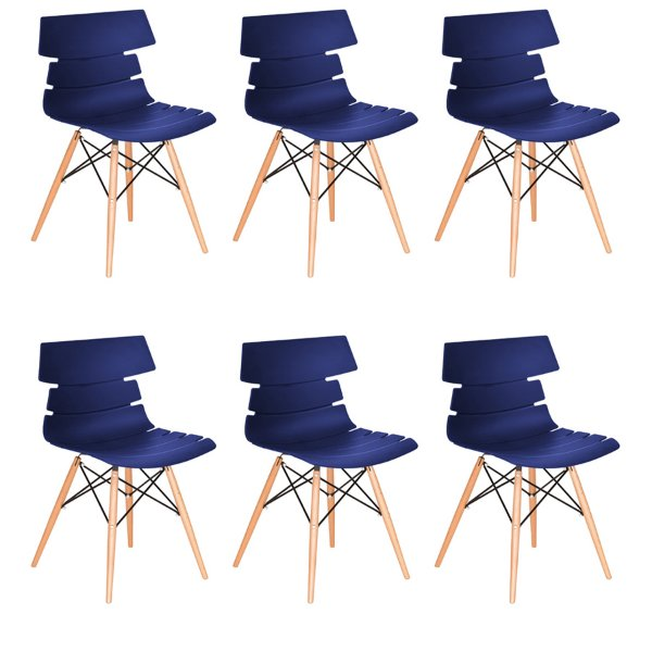 Kit 6x Cadeira Design Eames Eiffel DAR Ray Pes Madeira Salas Valencia Azul Marinho Assento Polipropileno Fratini