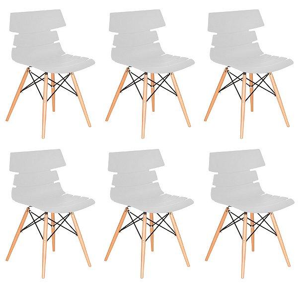 Kit 6x Cadeira Design Eames Eiffel DAR Ray Pes Madeira Salas Valencia Branco Assento Polipropileno Fratini