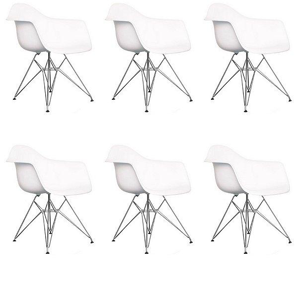 Kit 6x Cadeira Design Eames Eiffel DAR Ray Pes Metal Salas Florida Branca Braços Polipropileno Fratini