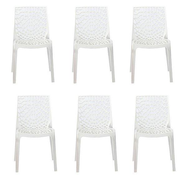 Kit 6x Cadeira Design Gruvier Branca Externa e Interna Cozinhas Salas Restaurantes Fratini