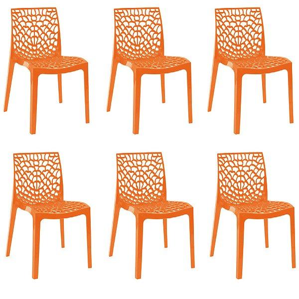 Kit 6x Cadeira Design Gruvier Laranja Externa e Interna Cozinhas Salas Restaurantes Fratini