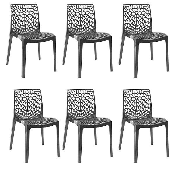 Kit 6x Cadeira Design Gruvier Preto Externa e Interna Cozinhas Salas Restaurantes Fratini