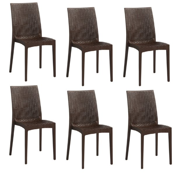 Kit 6x Cadeira Design Ibiza Marrom Externa e Interna Tramas tipo Rattan Cozinhas Varandas Salas Fratini