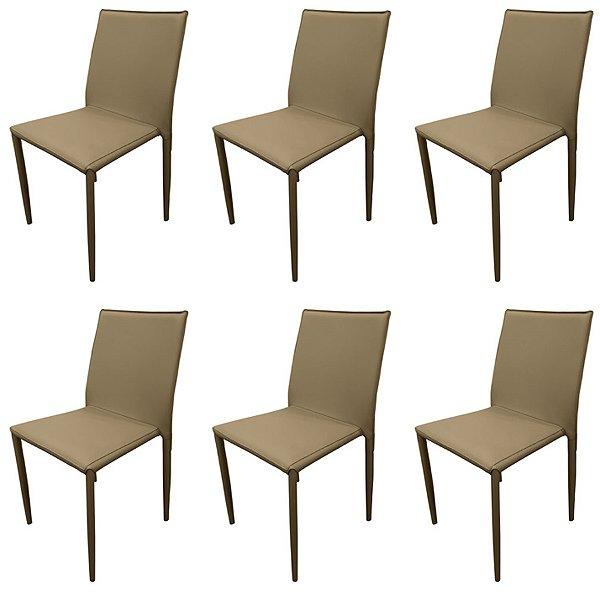 Kit 6x Cadeira Design Quadrada Fendi Fendi Estofado Tecido Couro Moderna Cozinhas Salas Zurique Fratini