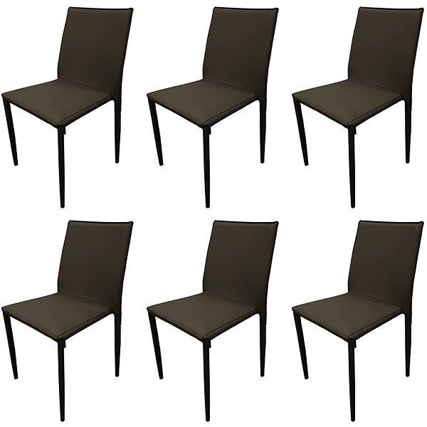 Kit 6x Cadeira Design Quadrada Marrom Fendi Estofado Tecido Couro Moderna Cozinhas Salas Zurique Fratini