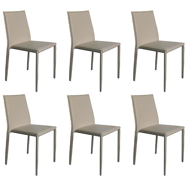 Kit 6x Cadeira Design Quadrada Preto Gelo Estofado Tecido Couro Moderna Cozinhas Salas Zurique Fratini