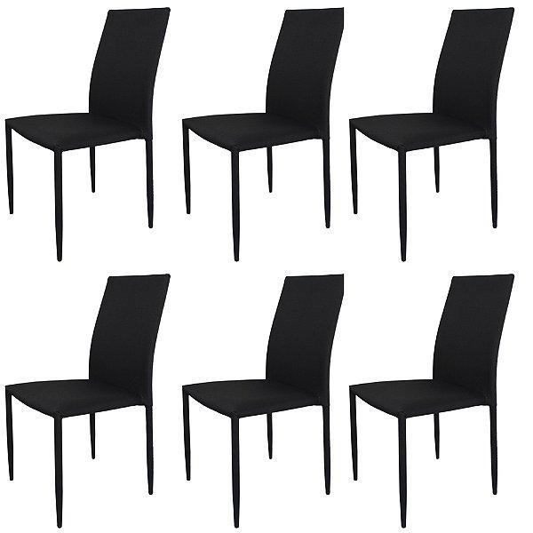 Kit 6x Cadeira Design Quadrada Preto Grafite Assento Tecido Moderna Cozinhas Salas Miami Fratini