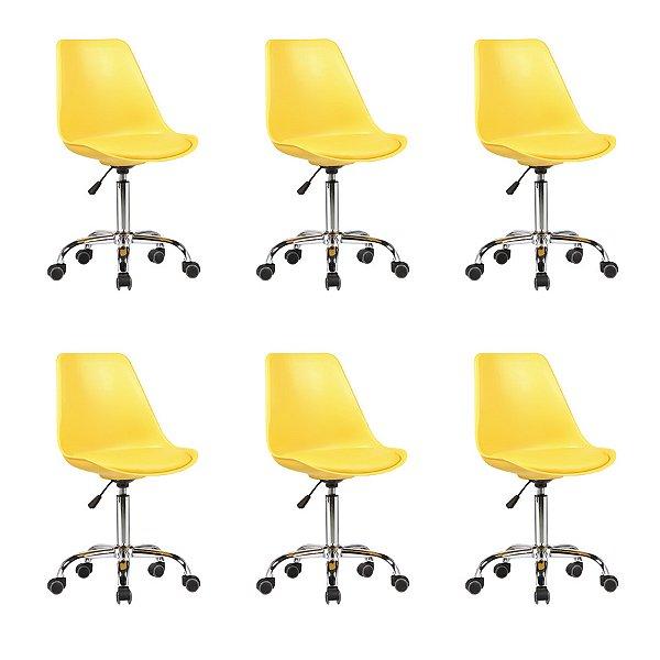 Kit 6x Cadeira Design Saarinen Office Eames Eiffel Rodizio Amarela Quartos Chicago Fratini