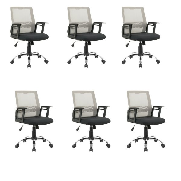 Kit 6x Cadeira Escritorio Fratini Office Rodizio Atlanta Cinza Giratoria Diretor Com Braços