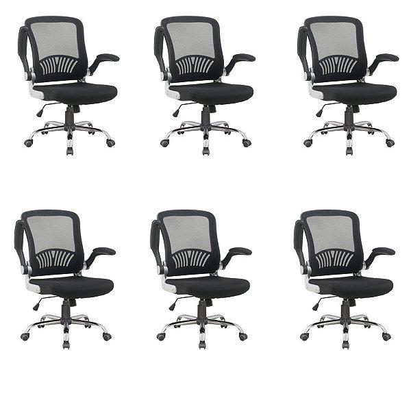 Kit 6x Cadeira Escritorio Fratini Office Rodizio Londres Cinza Giratoria Diretor Com Braços