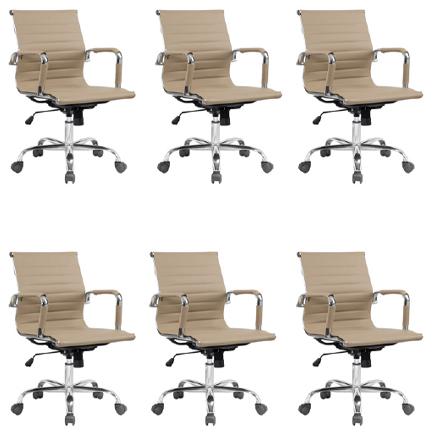 Kit 6x Cadeira Escritorio Fratini Office Rodizio Manhattan Eames Fendi Cromado Giratoria Diretor Com Braços