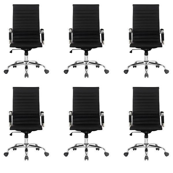 Kit 6x Cadeira Escritorio Fratini Office Rodizio Manhattan Eames Preto Cromado Giratoria Presidente Com Braços