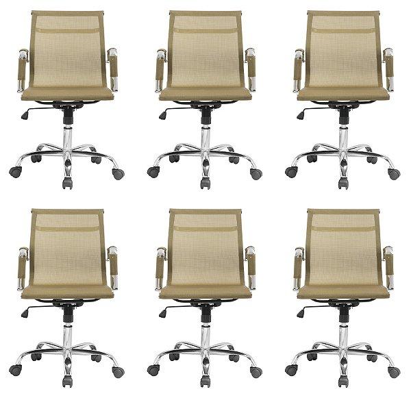 Kit 6x Cadeira Escritorio Fratini Office Rodizio Sidney Eames Dourado Cromado Giratoria Presidente Com Braços
