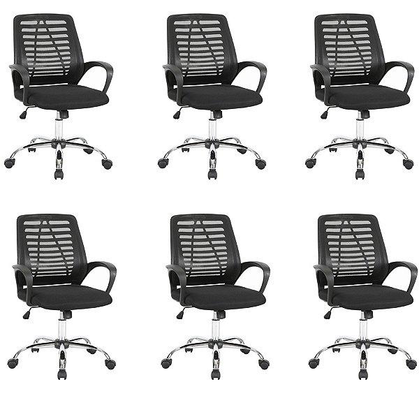 Kit 6x Cadeira Escritorio Fratini Office Rodizio Toronto Eames Preto Cromado Giratoria Presidente Com Braços