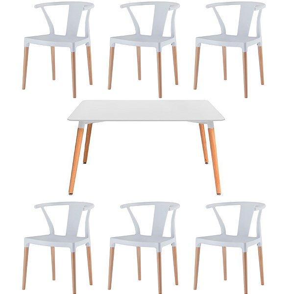 Kit 6x Cadeira Mesa Fratini Design Eiffel Eames Madeira Natural Assento Polipropileno Salas Branco Amsterdam