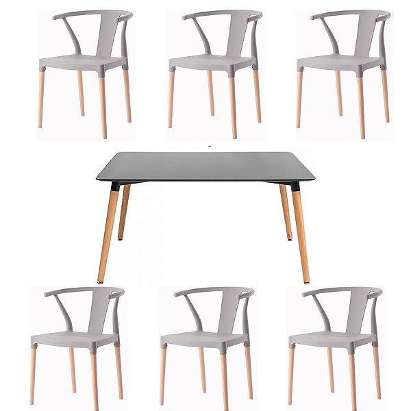 Kit 6x Cadeira Mesa Fratini Design Eiffel Eames Madeira Natural Assento Polipropileno Salas Cinza Preto Amsterdam