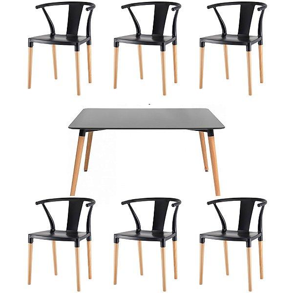 Kit 6x Cadeira Mesa Fratini Design Eiffel Eames Madeira Natural Assento Polipropileno Salas Preto Amsterdam