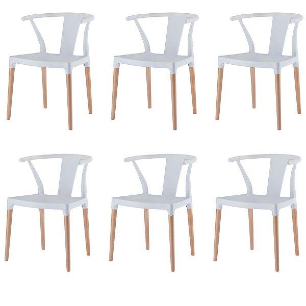 Kit 6x Cadeira Mesa Fratini Design Eiffel Eames Madeira Natural Base Assento Polipropileno Redondo Bares Restaurantes Branca Amsterdam