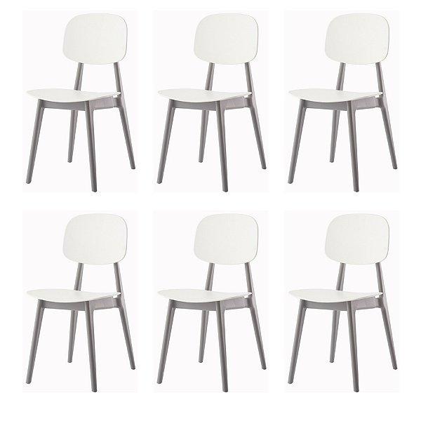 Kit 6x Cadeira Resistente Fratini Branco Cinza Cozinhas Restaurantes Gourmet Varanda Bares Vegas