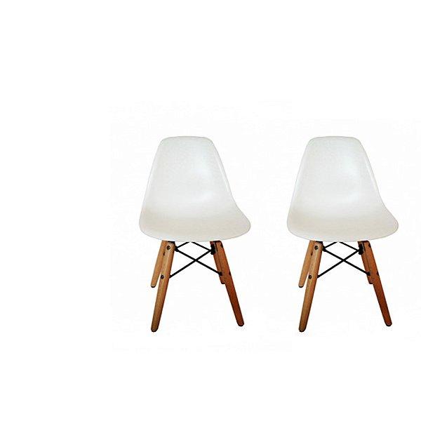 Kit Cadeira Design Eames Eiffel Kids Infantil Branco DAR Ray Pes Madeira Florida Assento Polipropileno Fratini