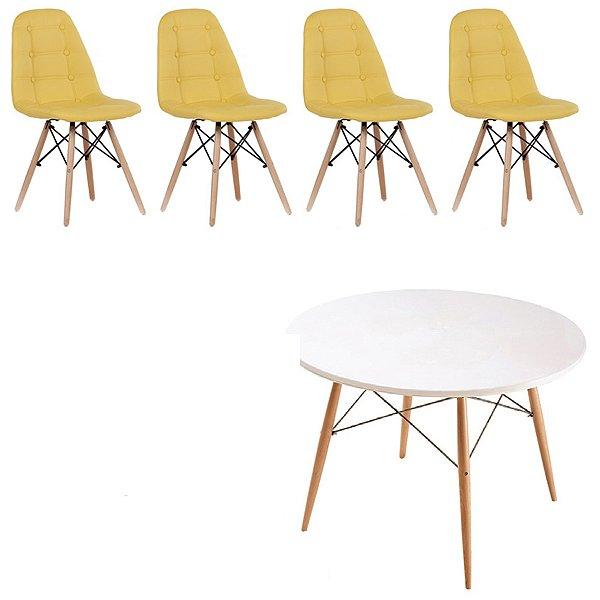 Kit Mesa 4 Cadeira Design Fratini Botone Eames Eiffel DAR Ray Pes Madeira Natural Salas Florida Amarelo Branco