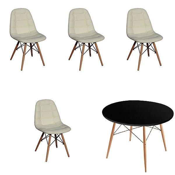 Kit Mesa 4 Cadeira Design Fratini Botone Eames Eiffel DAR Ray Pes Madeira Natural Salas Florida Bege Preto