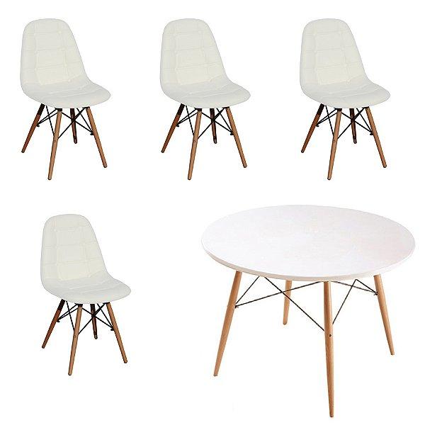 Kit Mesa 4 Cadeira Design Fratini Botone Eames Eiffel DAR Ray Pes Madeira Natural Salas Florida Branco