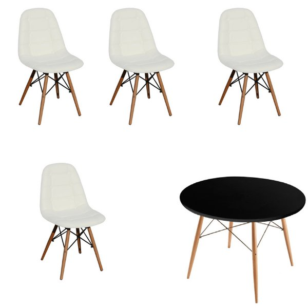 Kit Mesa 4 Cadeira Design Fratini Botone Eames Eiffel DAR Ray Pes Madeira Natural Salas Florida Branco Preto