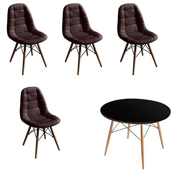 Kit Mesa 4 Cadeira Design Fratini Botone Eames Eiffel DAR Ray Pes Madeira Natural Salas Florida Marrom Café Preto