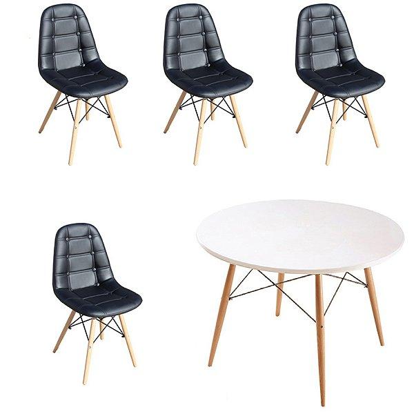Kit Mesa 4 Cadeira Design Fratini Botone Eames Eiffel DAR Ray Pes Madeira Natural Salas Florida Preto Branco