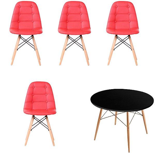 Kit Mesa 4 Cadeira Design Fratini Botone Eames Eiffel DAR Ray Pes Madeira Natural Salas Florida Vermelho Preto