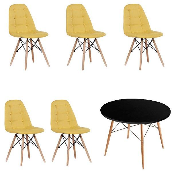 Kit Mesa 5 Cadeira Design Fratini Botone Eames Eiffel DAR Ray Pes Madeira Natural Salas Florida Amarelo Preto