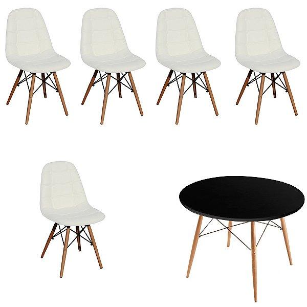 Kit Mesa 5 Cadeira Design Fratini Botone Eames Eiffel DAR Ray Pes Madeira Natural Salas Florida Branco Preto