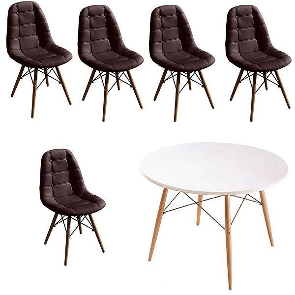 Kit Mesa 5 Cadeira Design Fratini Botone Eames Eiffel DAR Ray Pes Madeira Natural Salas Florida Marrom Café Branco