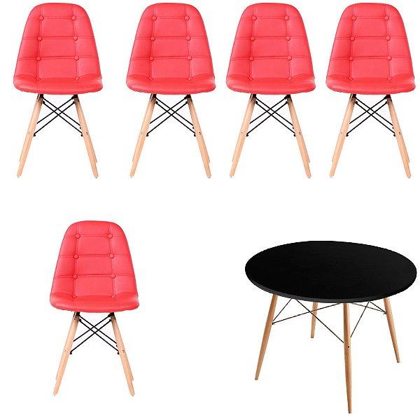 Kit Mesa 5 Cadeira Design Fratini Botone Eames Eiffel DAR Ray Pes Madeira Natural Salas Florida Vermelho Preto