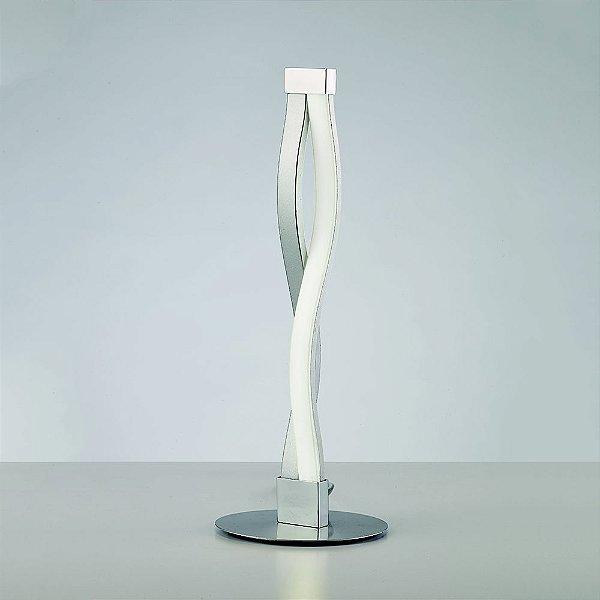 Abajur Mantra Co Luminária de Mesa Sahara Metal Alumínio Cromado 39,7x15cm LED 6W 110v 220v Bivolt 4862 Escritórios Sala Quarto Casal Mesas