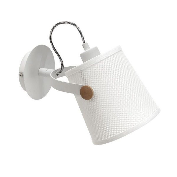 Arandela Mantra Co Nordica Branco Madeira Natural 18x16cm 1 E27 4924 Parede Muro Banheiro Sala