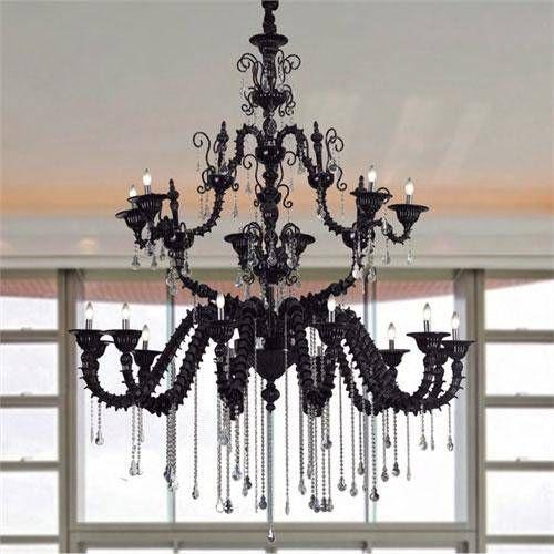 Lustre Mantra Co Luxury Black Candelabro Vidro Cristal K9 Asfour 250x200cm 18x E14 40W 110v 220v Bivolt 30006 Sala de Jantar Quarto e Cozinha
