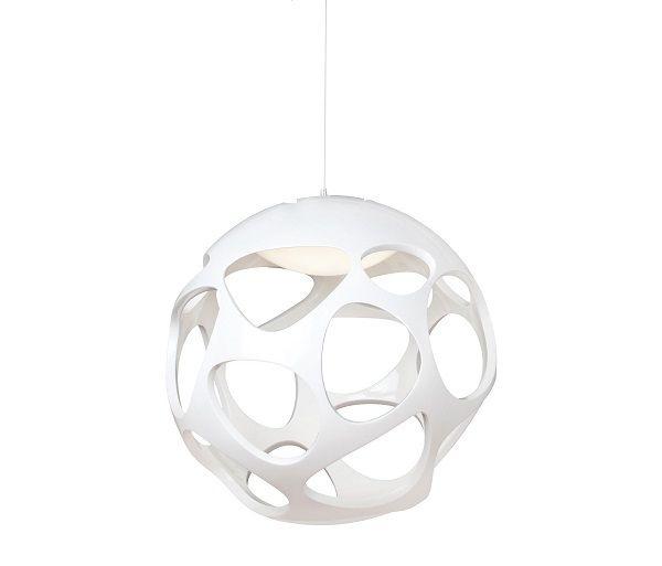 Pendente Mantra Co Organica Esfera Alumínio Cromado Polímero Branco 27x27cm 3 E27 20W 110v 220v Bivolt 5144 Sala de Jantar Quarto e Cozinha