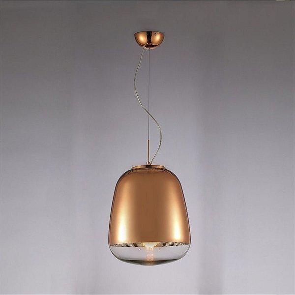 Pendente Mantra Co Zorah Pendurado Alumínio Vidro Bronze 70x45cm 1 E27 40W 110v 220v Bivolt 30257 Sala de Jantar Quarto e Cozinha