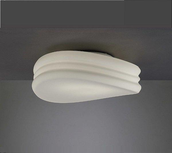 Plafon Mantra Co Mediterraneo Vidro Leitoso Branco Alumínio Cromado 18x50cm 4x E27 13W 110v 220v Bivolt 3623 Sobrepor Sala Quarto e Cozinha
