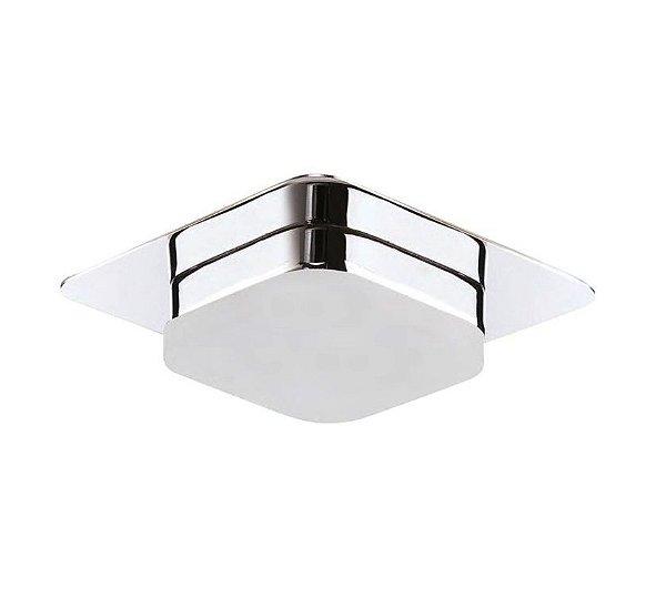 Plafon Mantra Co Square LED Semi Embutido Alumínio Acrílico 6x10cm 1x LED 3000K 5W 110v 220v Bivolt 30075 Sala Quarto e Cozinha