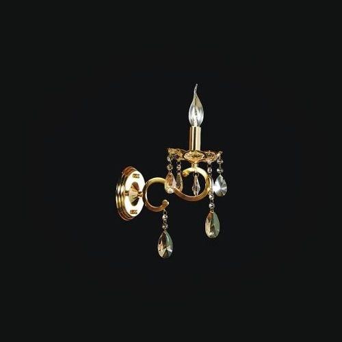 Abajur Tupiara Clássica 01 Braço Vela Dourada Cristal K9 Champanhe Ø30 Chardonne E14 2601-DRCH s Salas, Entradas e Hall