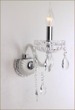 Abajur Tupiara Clássica 1 Braço Vela Metal Prata Cristal K9 Translúcido Ø13 Saint Marie E14 7601PRCT s Salas, Entradas e Hall