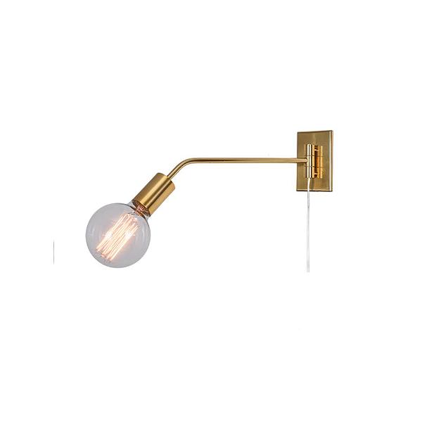 Arandela Munclair Agni Haste Reta Pequena Metal Dourado Fosco 110v 220v Bivolt 40x15 E-27 2344 Quartos Salas e Banheiros
