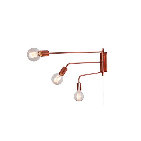 Arandela Munclair Agni Vintage Tripla Haste Reta Metal Cobre 110v 220v Bivolt 72x78 E-27 2346-3 Quartos Salas e Banheiros