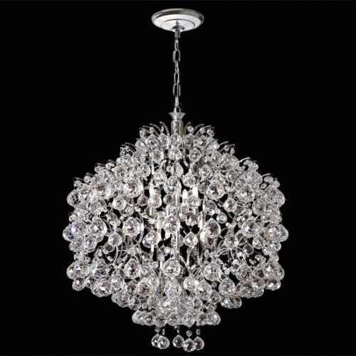 Lustre Esfera Colmeia Cristal K9 Lapidado Translúcido 4 Lamp. Ø30 Mr Iluminação E-27 2397-30-ls Saguão e Hall