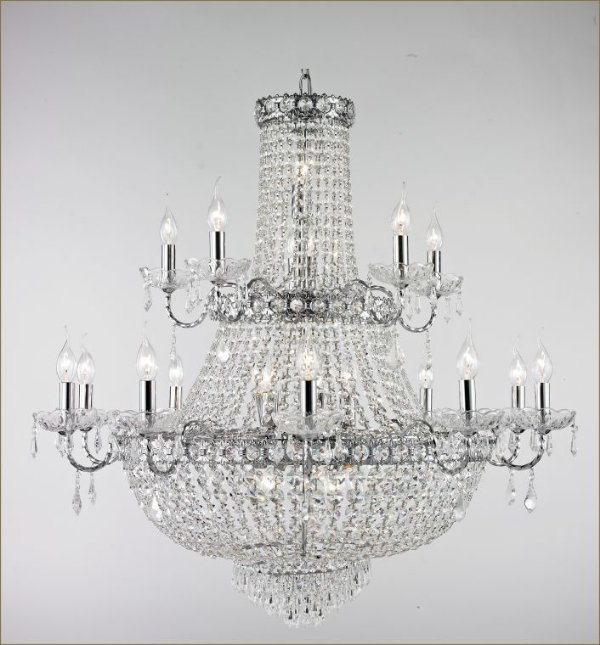 Lustre Tupiara imperial Vintage Metal Cromado Cristal K9 Translúcido 15 Lâmpadas 95x1m E-14 4515-CRCT s  Salas, Entradas e Hall